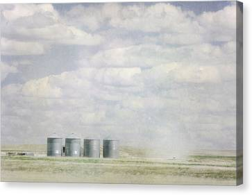 Painterly Photo Of Grains Bins Canvas Print by Roberta Murray