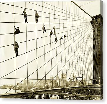 Painters On The Brooklyn Bridge 1914 Canvas Print by Mountain Dreams