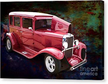 Painting 1929 Chevrolet Classic Car Automobile Color Red 3132.03 Canvas Print by M K  Miller