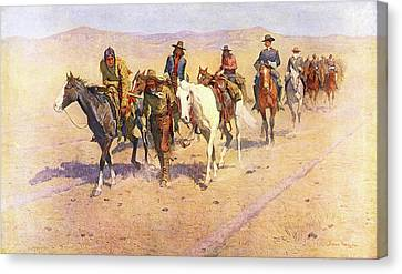 Remington Canvas Print - Painting By Frederic Remington 1906 by Vintage Images