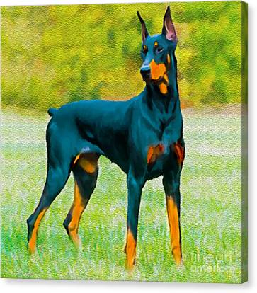 Painting Doberman Pincher Canvas Print by Bob and Nadine Johnston