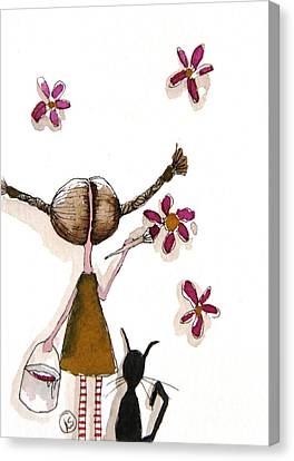 Painting Flowers Canvas Print by Lucia Stewart