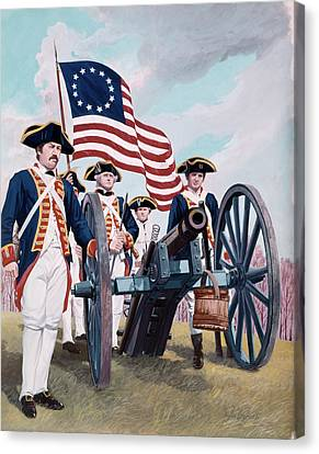 Colonial Man Canvas Print - Painting Illustration Of Artillery by Vintage Images