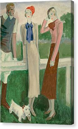 Painting Of A Fashionable Man And Two Women Canvas Print by Eduardo Garcia Benito