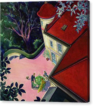 Red Roof Canvas Print - Painting Of A House With A Patio by Walter Buehr