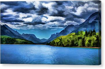 Painting Of A Lake And Mountains Canvas Print by Ron Harris