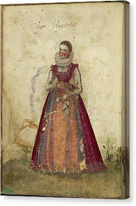 Painting Of A Woman Canvas Print by British Library