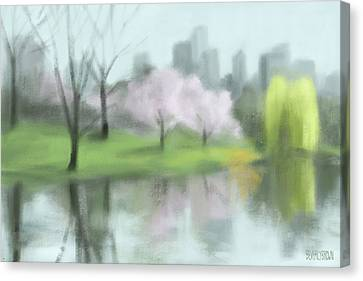 Painting Of Central Park In Spring Canvas Print