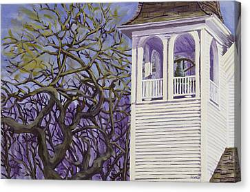 Country Church And Old Tree In Rural Maine Canvas Print by Keith Webber Jr