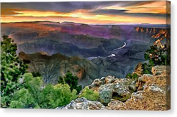 Nadine Canvas Print - Painting Of Desert View Grand Canyon by Bob and Nadine Johnston