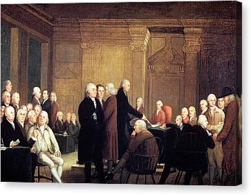 Colonial Man Canvas Print - Painting Of First Continental Congress by Vintage Images
