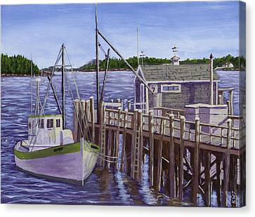 Fishing Boat Docked In Boothbay Harbor Maine Canvas Print