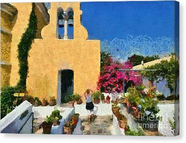 Painting Of Paleokastritsa Monastery Canvas Print by George Atsametakis