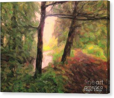 Landscape Painting Of Path Into Woods Canvas Print by Maggie Vlazny