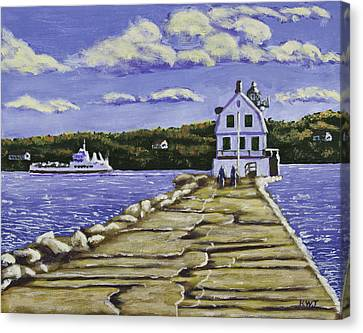Rockland Breakwater Lighthouse In Maine Canvas Print