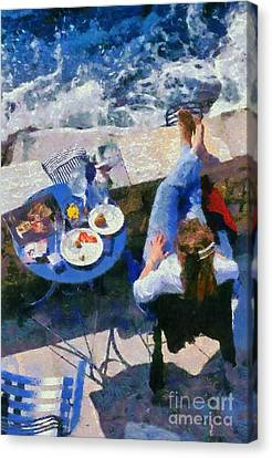 Painting Of Woman In Hydra Island Canvas Print by George Atsametakis