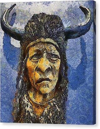 Painting Of Wood Spirit Carving Native American Indian Canvas Print by Teara Na