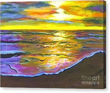 Painting Sanibel Island Beach Canvas Print by Judy Via-Wolff