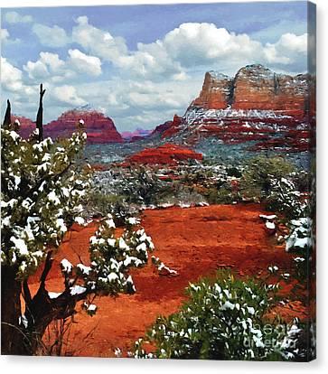 Nadine Canvas Print - Painting Secret Mountain Wilderness Sedona Arizona by Bob and Nadine Johnston