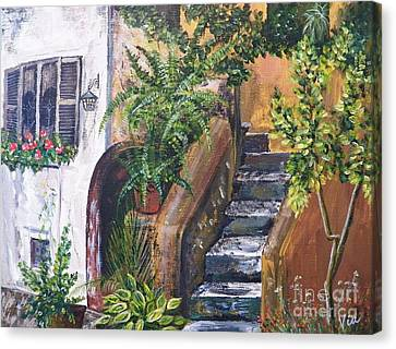 Painting    Siesta Steps Canvas Print by Judy Via-Wolff