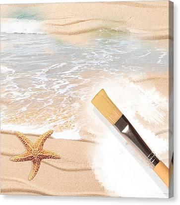 Painting The Beach Canvas Print by Amanda Elwell