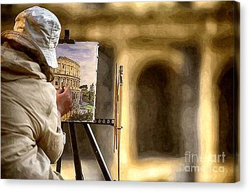Painting The Colosseum Canvas Print by Stefano Senise