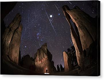 Copyright 2013 By Mike Berenson Canvas Print - Painting The Needles Under The Geminids Meteor Shower by Mike Berenson