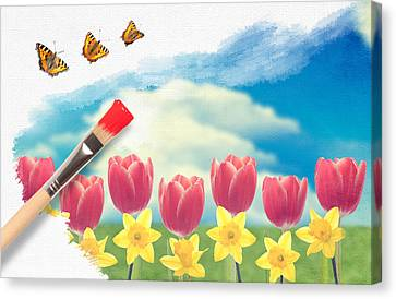 Painting Tulips Canvas Print by Amanda Elwell