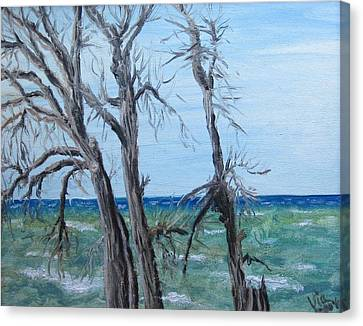 Canvas Print featuring the painting Painting - Waiting For Spring - Lake Ontario by Judy Via-Wolff