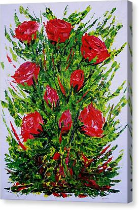 Painting With Knife Of Red Roses  Canvas Print by Mario Perez