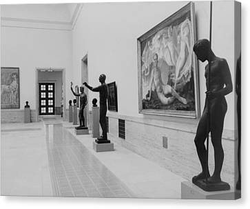 Paintings And Sculpture In A Gallery Canvas Print by Everett