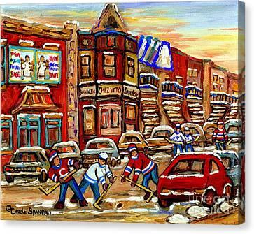 Paintings Of Fairmount Bagel Street Hockey Game Near Chez Vito Montreal Art Winter City Cspandau Canvas Print by Carole Spandau