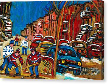 Paintings Of Montreal Hockey City Scenes Canvas Print by Carole Spandau
