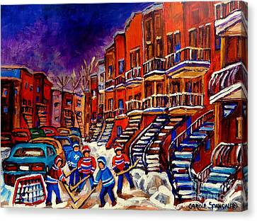 Paintings Of Montreal Hockey On Du Bullion Street Canvas Print by Carole Spandau