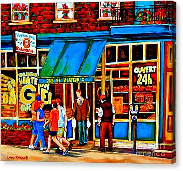St.viateur Bagel Canvas Print - Paintings Of Montreal Memories Bagel And Bread Shop St. Viateur Boulangerie Depanneur City Scenes by Carole Spandau