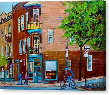 Paintings Of Montreal Streets Wilenskys Lunch Counter Canvas Print by Carole Spandau