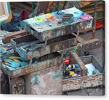 Paints And Brushes Of An Outdoor Painter Canvas Print