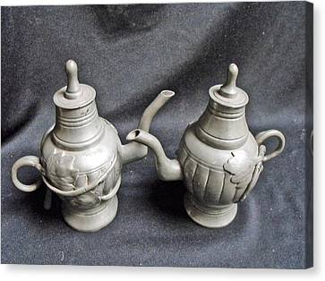 Pair Of Decorated Pewter Teapots Canvas Print by Anonymous
