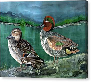Pair Of Green-winged Teals Canvas Print by Marsha Friedman