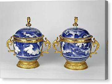 Pair Of Lidded Bowls Mounts Attributed To Wolfgang Howzer Canvas Print by Litz Collection