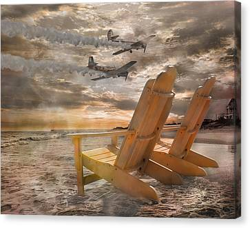 Pier Canvas Print - Pairs Along The Coast by Betsy Knapp
