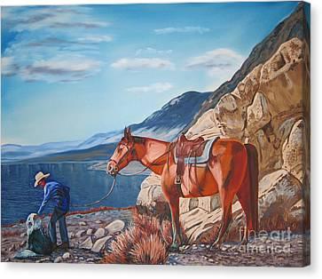Paiute Boy At Walker Lake Canvas Print by Joseph Juvenal