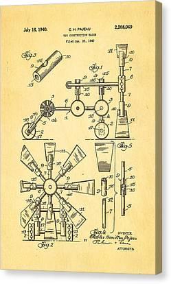 Pajeau Tinker Toy Patent Art 1940 Canvas Print
