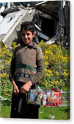 Canvas Print featuring the photograph Pakistani Boy In Front Of Hotel Ruins In Swat Valley by Imran Ahmed