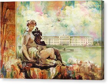 Palace And Gardens Of Schonbrunn Canvas Print by Catf