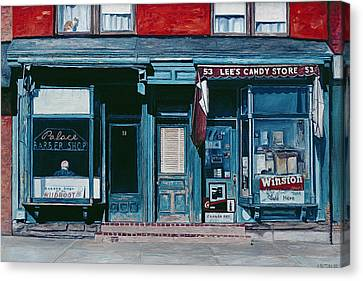 Palace Barber Shop And Lees Candy Store Canvas Print