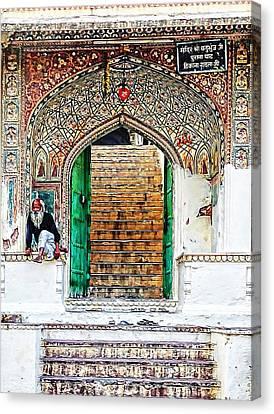 Garden Dor Canvas Print - Palace Caretaker Sisodia Jaipur Rajasthan India by Sue Jacobi