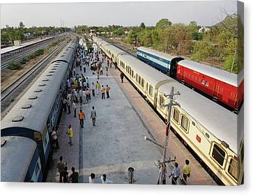 Train Depot Canvas Print - Palace On Wheels Train Parked At Train by Adam Jones