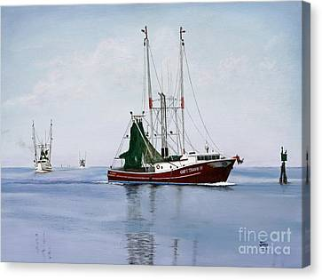Canvas Print featuring the painting Palacios Boats by Jimmie Bartlett