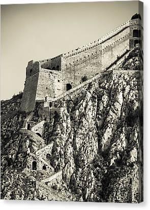 Palamidi Fortress Stairs Canvas Print by David Waldo